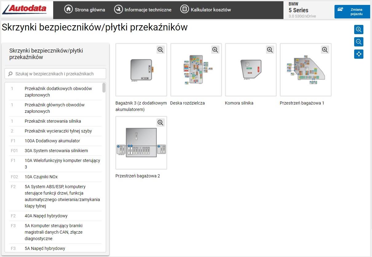 Autodata online - skrzynki bezpieczników
