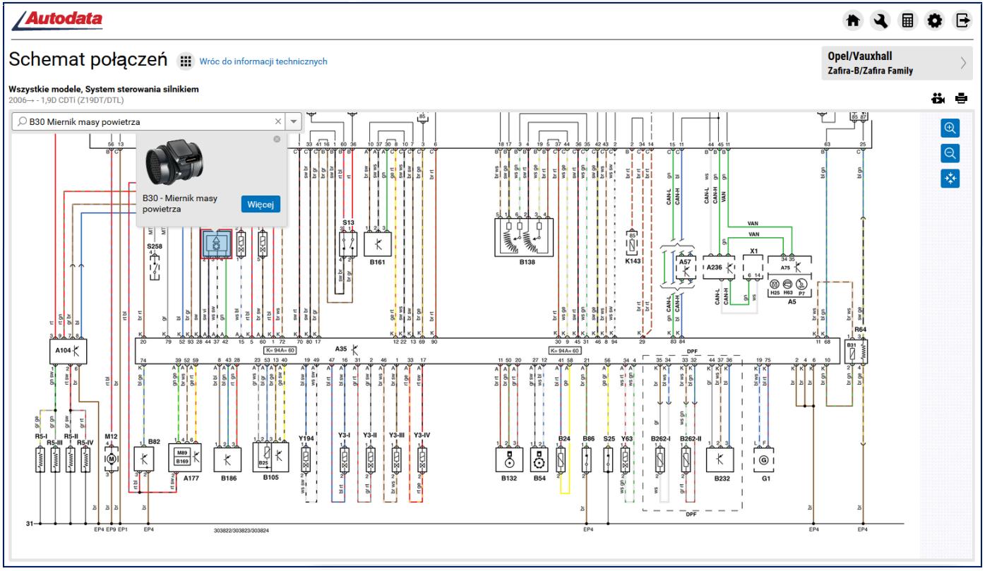 Schemat połączeń w programie Autodata